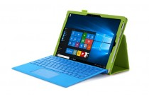 """Фирменный чехол бизнес класса для Microsoft Surface Pro 3 с визитницей и держателем для руки салатовый натуральная кожа """"Prestige"""" Италия"""