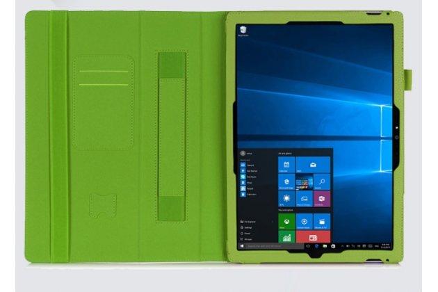 """Фирменный чехол бизнес класса для Microsoft Surface Pro 4 12.3"""" с визитницей и держателем для руки салатовый натуральная кожа """"Prestige"""" Италия"""