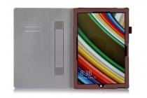 """Фирменный чехол бизнес класса для Microsoft Surface Pro 4 12.3"""" с визитницей и держателем для руки коричневый натуральная кожа """"Prestige"""" Италия"""