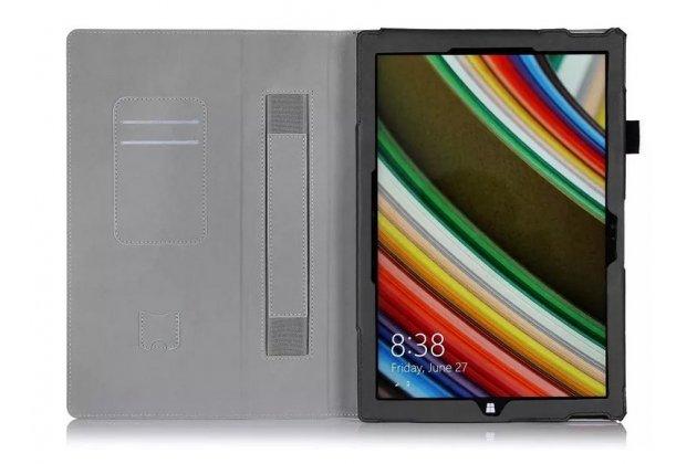 """Фирменный чехол бизнес класса для Microsoft Surface Pro 4 12.3"""" с визитницей и держателем для руки черный натуральная кожа """"Prestige"""" Италия"""