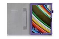 """Фирменный чехол бизнес класса для Microsoft Surface Pro 4 12.3"""" с визитницей и держателем для руки фиолетовый натуральная кожа """"Prestige"""" Италия"""