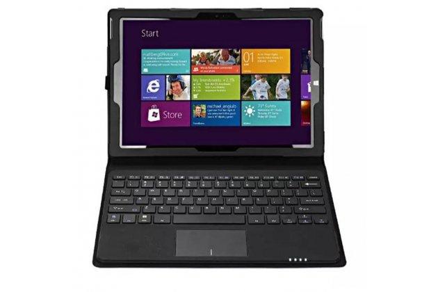 """Фирменный чехол со съёмной Bluetooth-клавиатурой для планшета Microsoft Surface Pro 4 12.3"""" (i5/m3/i7) черный кожаный + гарантия"""