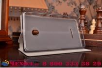 Фирменный чехол-книжка из качественной водоотталкивающей импортной кожи на жёсткой металлической основе для Microsoft Lumia 532 черный