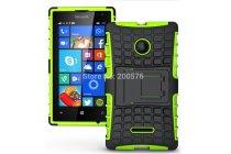 Противоударный усиленный ударопрочный фирменный чехол-бампер-пенал для Microsoft Lumia 532 зелёный