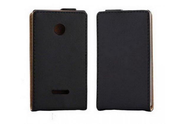 Фирменный оригинальный вертикальный откидной чехол-флип для Microsoft Lumia 532 черный кожаный