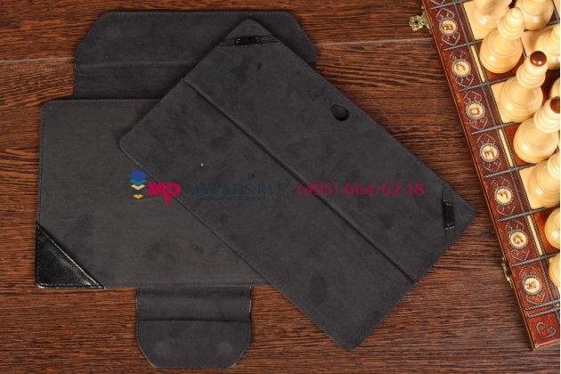 """Фирменный чехол для Microsoft Surface Pro черный с секцией под клавиатуру кожаный """"Премиум"""""""