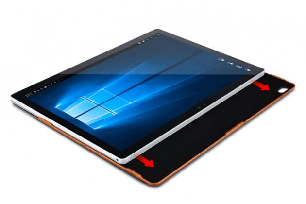 """Фирменный премиальный чехол-обложка-футляр-сумка с подставкой и вырезом под тачпад для Microsoft Surface Book 13.5"""" из импортной кожи коричневый"""