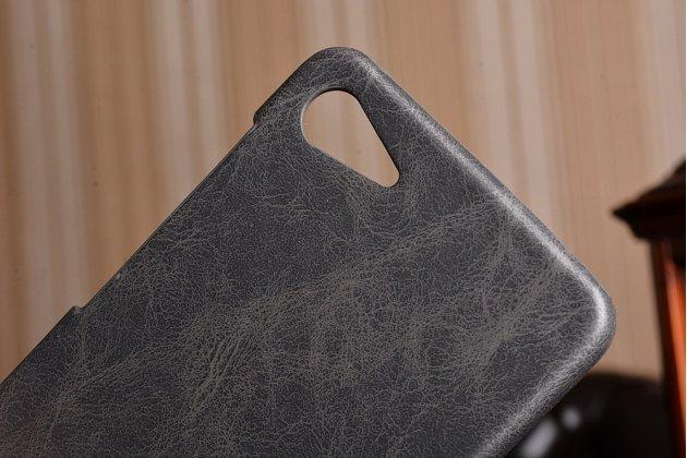 """Фирменная премиальная элитная крышка-накладка из тончайшего прочного пластика и качественной импортной кожи для  Lenovo Zuk Z2/ZUK Z2 Rio Edition 5.0""""  """"Ретро под старину"""" черная"""
