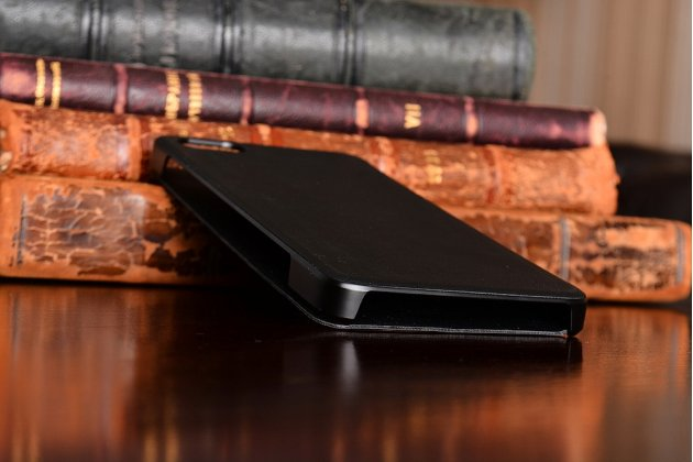 """Фирменный оригинальный чехол-книжка с логотипом для Lenovo Zuk Z2/ZUK Z2 Rio Edition 5.0""""  черный кожаный с окошком для входящих вызовов"""