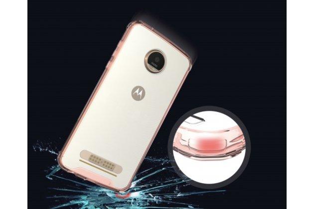 """Фирменная ультра-тонкая силиконовая задняя панель-чехол-накладка с защитой боковых кнопок для Motorola (Lenovo) Moto Z 5.5"""" (XT1650-05) с обрамлением розовое золото"""
