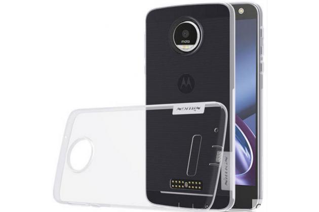 """Фирменная ультра-тонкая силиконовая задняя панель-чехол-накладка с защитой боковых кнопок для Motorola (Lenovo) Moto Z 5.5"""" (XT1650-05) серебристая"""