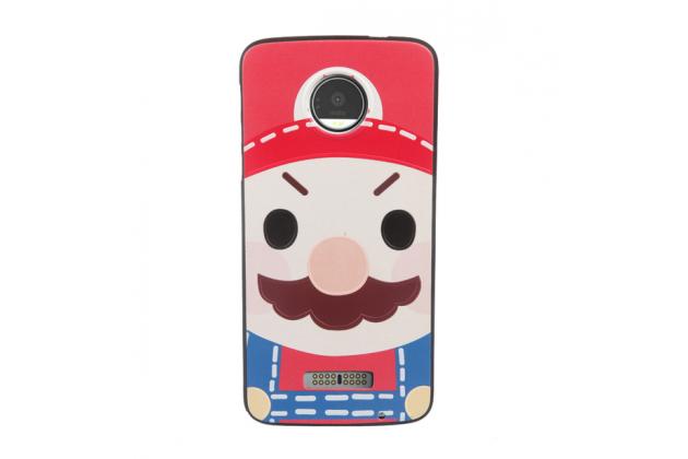 """Фирменная уникальная задняя панель-крышка-накладка из тончайшего силикона для Motorola (Lenovo) Moto Z 5.5"""" (XT1650-05) с объёмным 3D рисунком """"тематика Марио"""""""