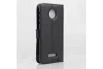 """Фирменный чехол-книжка для Motorola (Lenovo) Moto Z 5.5"""" (XT1650-05) с визитницей и мультиподставкой черный кожаный"""