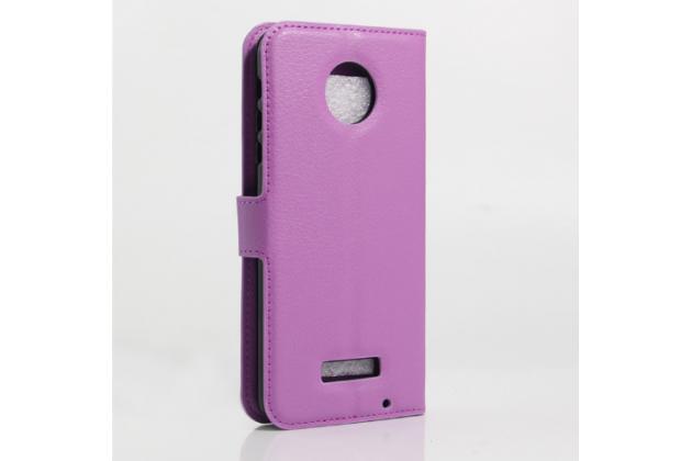 """Фирменный чехол-книжка для  Motorola (Lenovo) Moto Z 5.5"""" (XT1650-05) с визитницей и мультиподставкой фиолетовый кожаный"""