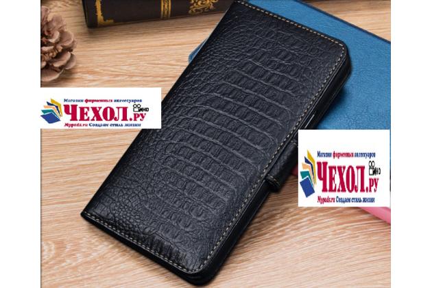 """Фирменный чехол-книжка с подставкой для Motorola (Lenovo) Moto Z 5.5"""" (XT1650-05) лаковая кожа крокодила цвет черный"""