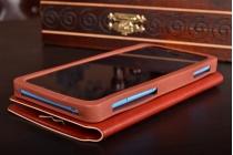 Чехол-книжка для Motorola Moto G4 Play кожаный с окошком для вызовов и внутренним защитным силиконовым бампером. цвет в ассортименте