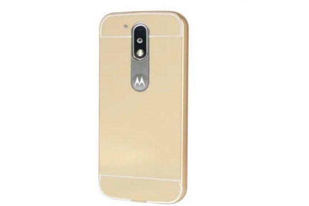 Фирменная металлическая задняя панель-крышка-накладка из тончайшего облегченного авиационного алюминия для Motorola Moto G4 Plus (XT1642) 5.5 золотая