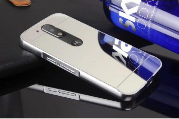 Фирменная металлическая задняя панель-крышка-накладка из тончайшего облегченного авиационного алюминия для Motorola Moto G4 Plus (XT1642) 5.5 серебристая