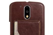 Фирменная роскошная элитная премиальная задняя панель-крышка для  Motorola Moto G4 Plus (XT1642) 5.5 из качественной кожи буйвола с визитницей коричневая