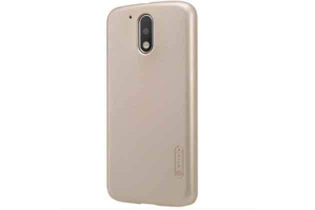 Фирменная задняя панель-крышка-накладка из тончайшего и прочного пластика для  Motorola Moto G4 Plus (XT1642) 5.5  золотая