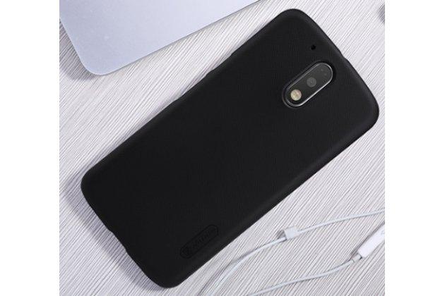 Фирменная задняя панель-крышка-накладка из тончайшего и прочного пластика для Motorola Moto G4 Plus (XT1642) 5.5 черная