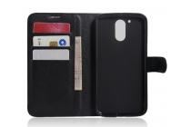 Фирменный чехол-книжка для Motorola Moto G4 Plus (XT1642) 5.5 с визитницей и мультиподставкой черный кожаный