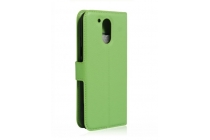 Фирменный чехол-книжка для Motorola Moto G4 Plus (XT1642) 5.5 с визитницей и мультиподставкой зеленый кожаный
