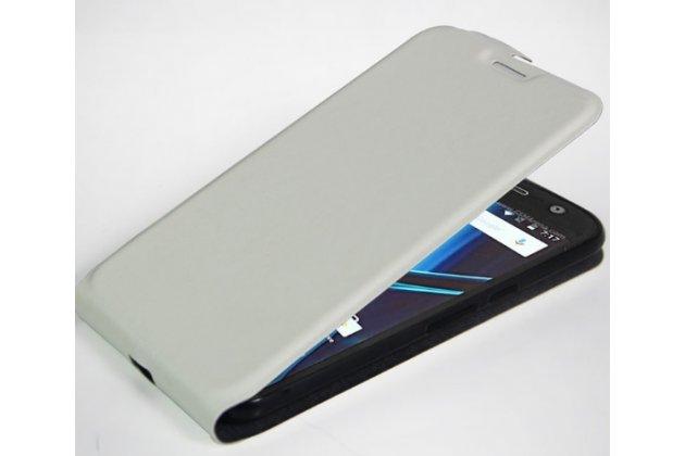 Фирменный вертикальный откидной ультра-тонкий чехол-флип для Motorola Moto G4 Plus (XT1642) 5.5 белый