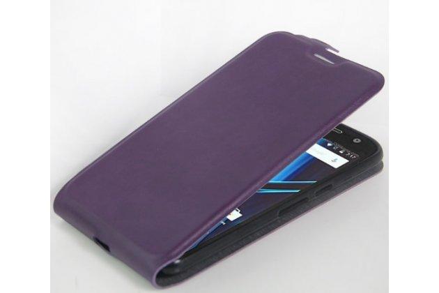 Фирменный вертикальный откидной ультра-тонкий чехол-флип для Motorola Moto G4 Plus (XT1642) 5.5 фиолетовый