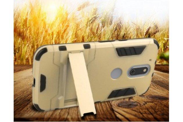 Противоударный усиленный ударопрочный фирменный чехол-бампер-пенал для Motorola Moto G4 Plus (XT1642) 5.5  золотой