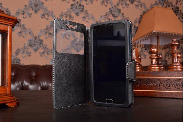 Чехол-книжка для Motorola Moto M Plus кожаный с окошком для вызовов и внутренним защитным силиконовым бампером. цвет в ассортименте