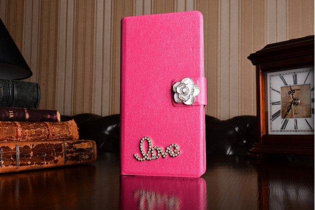 Фирменный роскошный чехол-книжка безумно красивый декорированный бусинками и кристаликами на Motorola Moto M (XT1662) 5.5 розовый