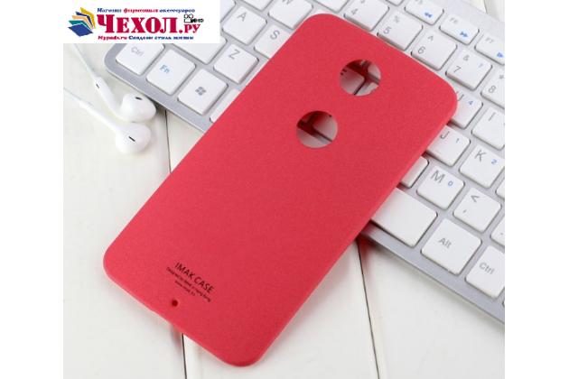 Фирменная задняя панель-крышка-накладка из тончайшего и прочного пластика для Motorola Nexus 6 красная