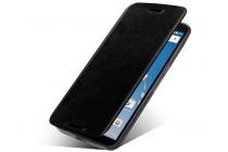Фирменный чехол-книжка из качественной водоотталкивающей импортной кожи на жёсткой металлической основе для Motorola Nexus 6 черный