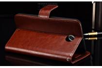 Фирменный чехол-книжка из качественной импортной кожи с мульти-подставкой застёжкой и визитницей для Моторола Нексус 6  коричневый