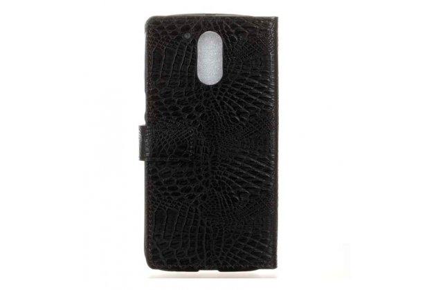 """Фирменный чехол-книжка с мульти-подставкой и визитницей для Motorola Moto G4 Plus (XT1642) 5.5"""" кожа крокодила брутальный черный"""