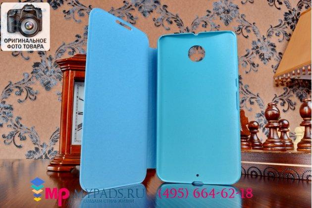 Фирменный оригинальный чехол-книжка из качественной импортной кожи для Motorola Nexus 6 бирюзовый