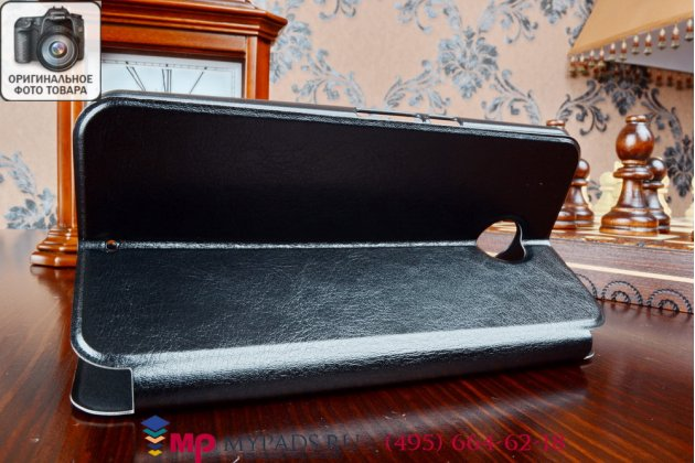 Фирменный оригинальный чехол-книжка из качественной импортной кожи для Motorola Nexus 6 черный