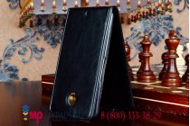 Фирменный оригинальный вертикальный откидной чехол-флип для Motorola Nexus 6 черный кожаный