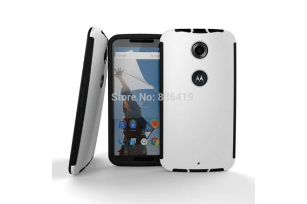 """Задняя панель-крышка из тончайшего и прочного пластика для Motorola Nexus 6 с матовой отделкой """"под карбон"""" белая"""