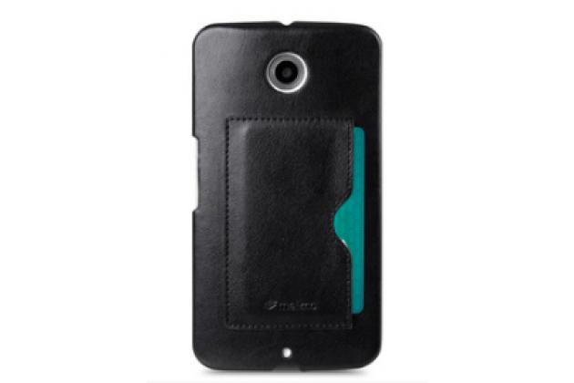 Фирменная роскошная элитная премиальная задняя панель-крышка на пластиковой основе обтянутая импортной кожей для Motorola Nexus 6 королевский черный