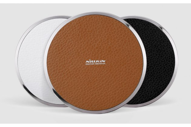 Беспроводная зарядка (QI) на телефон Fly Stratus 6 с отделкой под кожу и LED-подсветкой. Продаётся комплектом (док -станция + ресивер)