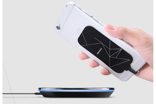 Беспроводная зарядка (QI) на телефон Alcatel One Touch X'Pop с отделкой под кожу и LED-подсветкой. Продаётся комплектом (док -станция + ресивер)