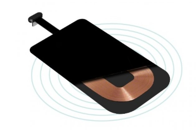 Беспроводная зарядка (QI) на телефон Fly IQ4490 ERA Nano 4 с отделкой под кожу и LED-подсветкой. Продаётся комплектом (док -станция + ресивер)