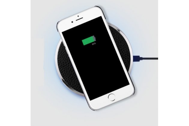 Беспроводная зарядка (QI) на телефон Fly FS401 Stratus 1 с отделкой под кожу и LED-подсветкой. Продаётся комплектом (док -станция + ресивер)