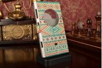 Фирменный чехол-книжка с безумно красивым расписным Узором в цветах на Nokia Lumia 1020 с окошком для звонков