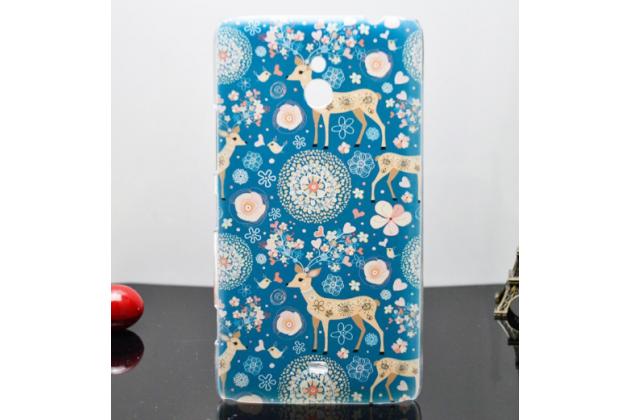 """Фирменная роскошная задняя панель-чехол-накладка с безумно красивым расписным узором на Nokia Lumia 1320 """"тематика Олени с цветами"""""""