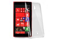 Фирменная задняя панель-крышка-накладка из тончайшего и прочного пластика для Nokia Lumia 1320 прозрачная