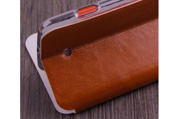 Фирменный чехол-книжка из качественной водоотталкивающей импортной кожи на жёсткой металлической основе для Nokia Lumia 1320 коричневый