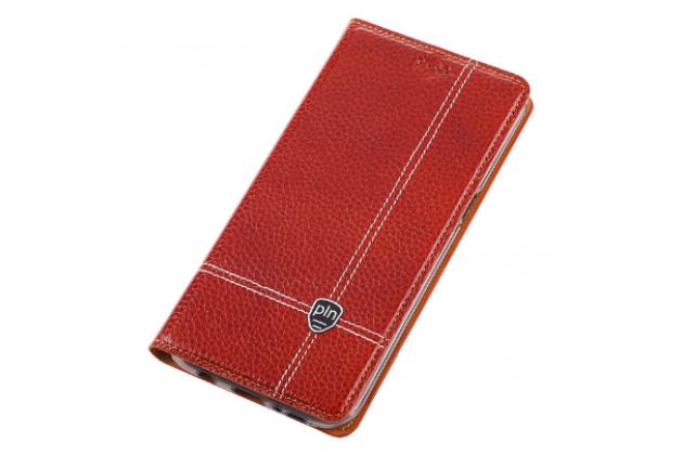 Фирменный чехол-книжка из качественной импортной водоотталкивающей кожи с мульти-подставкой и визитницей для Nokia Lumia 1320 красный с узором